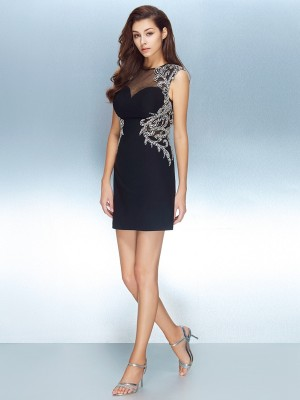 Column Jewel Short Sleeves Net Crystal Short/Mini Homecoming Gown