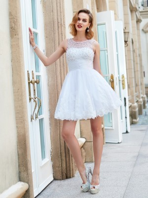 A-line Jewel Sleeveless Pearls Short/Mini Lace Homecoming Gown