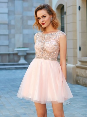 A-line Scoop Net Short Sleeves Beading Short/Mini Homecoming Gown