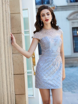 Column Jewel Short Sleeves Beading Satin Short/Mini Homecoming Gown