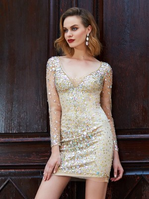 Column Scoop Long Sleeves Net Rhinestone Short/Mini Homecoming Gown