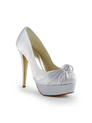 Women's Gorgeous Satin Stiletto Heel Pumps With Ruched Wedding Shoes