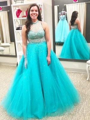 Ball Gown High Neck Sleeveless Beading Floor-Length Tulle Big Size Dresses