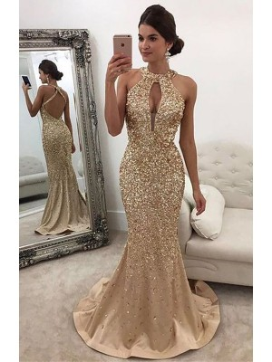 Trumpet/Mermaid Sleeveless Halter Sequin Sweep/Brush Train Satin Prom Gowns