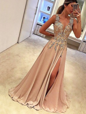A-Line/Princess V-neck Sleeveless Floor-Length Applique Silk like Satin Dresses