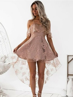 A-Line/Princess Lace Off-the-Shoulder Satin Short/Mini Dresses