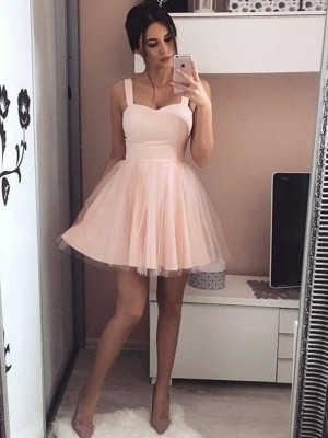 A-Line/Princess Sleeveless Satin Straps Ruched Short/Mini Dresses