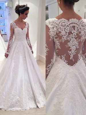 Gorgeous Ball Gown V-neck Long Sleeves Lace Court Train Satin Bridal Gown