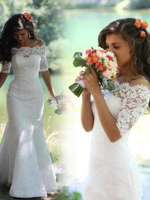 Gorgeous Mermaid Off-the-Shoulder 1/2 Sleeves Lace Sweep/Brush Train Bridal Dress
