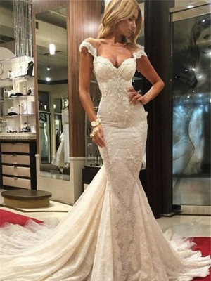 Mermaid Sleeveless Sweep/Brush Train V-neck Lace Bridal Dress