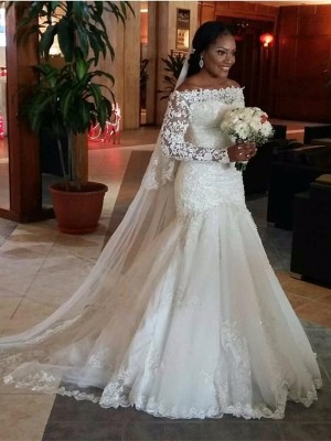 Gorgeous Mermaid Off-the-Shoulder Long Sleeves Lace Sweep/Brush Train Tulle Bridal Dress