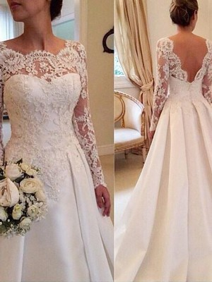 Ball Gown Scoop Long Sleeves Lace Court Train Satin Wedding Gown