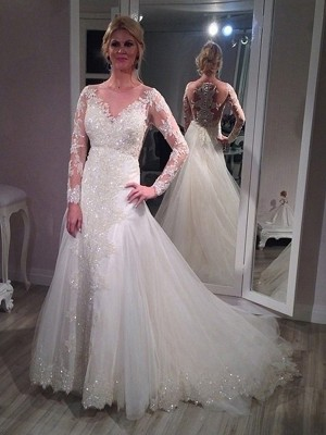 A Line V-neck Sweep/Brush Train Long Sleeves Sequin Tulle Wedding Gown