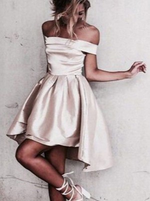 A-Line Sleeveless Off-the-Shoulder Satin Short/Mini Prom Gown