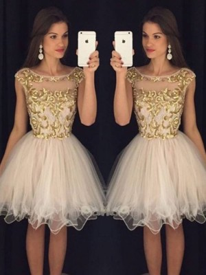Princess Sleeveless Scoop Paillette Tulle Short/Mini Homecoming Gowns