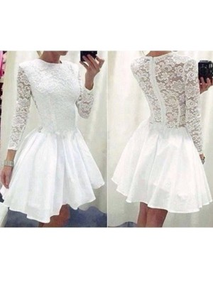 A-Line/Princess Long Sleeves Scoop Lace Chiffon Short/Mini Girl Dress