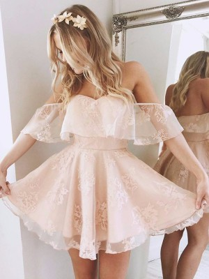 A-Line/Princess Off-the-Shoulder Lace Short Dresses