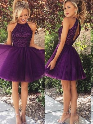 A-Line/Princess Halter Short/Mini Tulle Dress