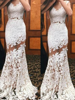 Trumpet Scoop Sweep/Brush Train Lace Party Dress