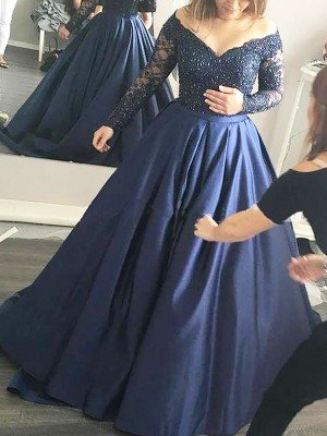Ball Gown Off-the-Shoulder Long Sleeves Beading Satin Sweep/Brush Train Grad Dresses