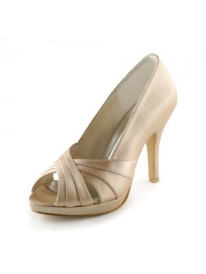 Women's Satin Stiletto Heel Peep Toe Platform Sandals Wedding Shoes