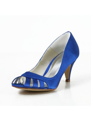 Women's Satin Cone Heel Peep Toe Pumps Shoes With Hollow-out