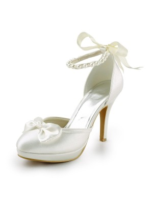Women's Satin Stiletto Heel Closed Toe Platform Pumps Wedding Shoes With Bowknot