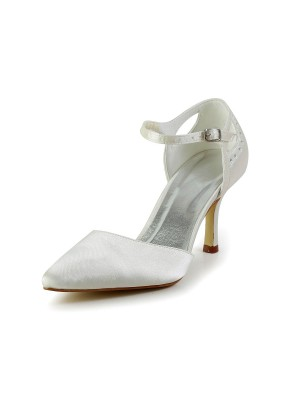 Women's Satin Stiletto Heel Closed Toe Pumps Wedding Shoes