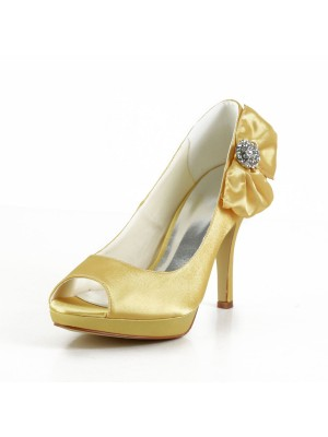 Women's Satin Stiletto Heel Peep Toe Platform Wedding Shoes With Bowknot