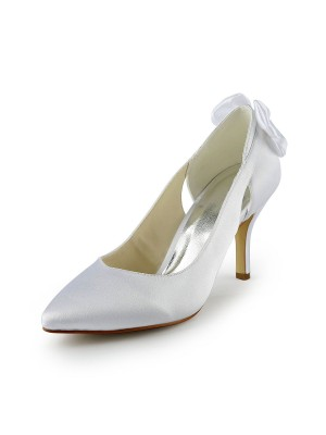 Women's Satin Stiletto Heel Pumps With Hollow-out Wedding Shoes