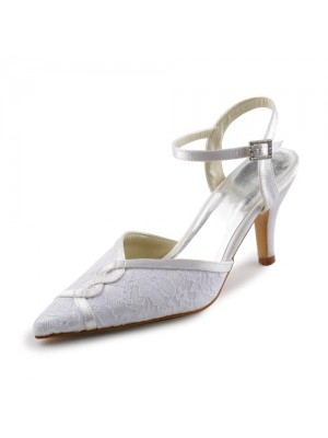 Women's Satin Stiletto Sandals With Stitching Lace Wedding Shoes