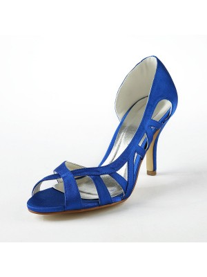 Women's Satin Upper Stiletto Heel High Heels Sandal Shoes