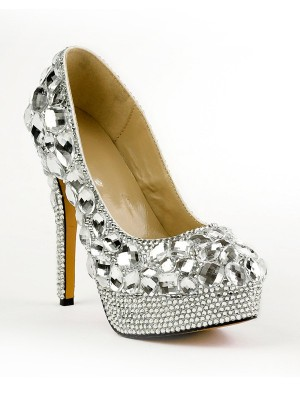 Women's Closed Toe Stiletto Heel Platform Shoes With Rhinestones