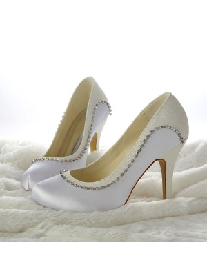 Women's Stiletto Heels Closed-toe Beading Wedding Shoes