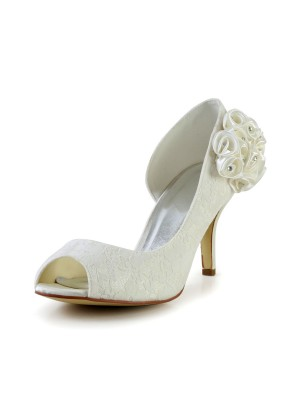 Women's Trendy Stiletto Heel Satin Wedding Shoes With Flower