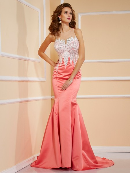 Sheath/Column Jewel Beading Long Satin Dress