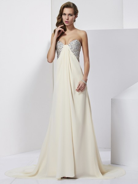 Sheath/Column Sweetheart Beading Dress with Long Chiffon