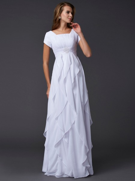 Sheath/Column Square Short Sleeves Ruffles Dress with Long Chiffon