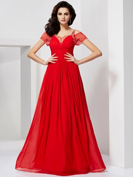 A-Line/Princess Spaghetti Straps Short Sleeves Ruffles Dress with Long Chiffon