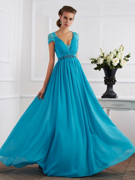 A-Line/Princess V-neck Beading Short Sleeves Dress with Long Chiffon