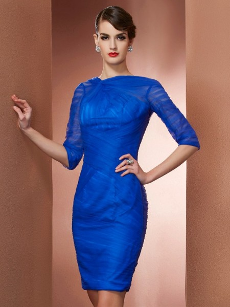 Sheath/Column High Neck 1/2 Sleeves Pleats Short Elastic Woven Satin Homecoming Dress