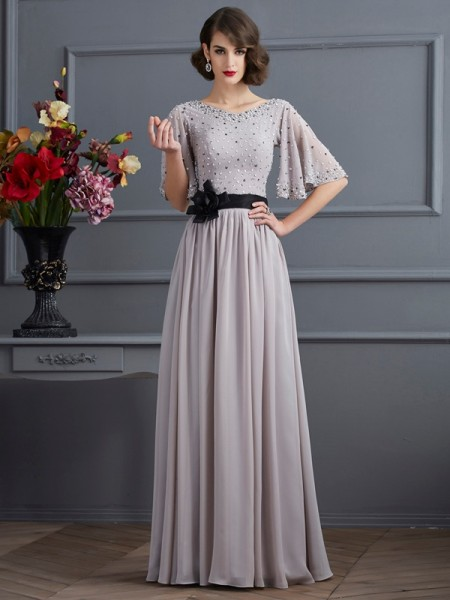 A-Line/Princess High Neck 1/2 Sleeves Beading Dress with Long Chiffon