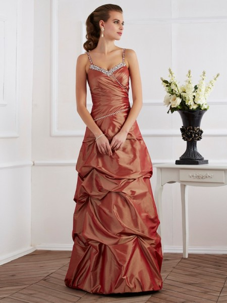 Sheath/Column Spaghetti Straps Beading Long Taffeta Dress