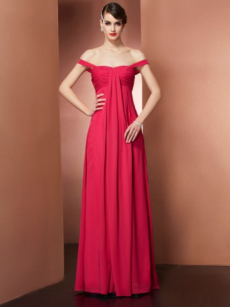 A-Line/Princess Off the Shoulder Beading Dress with Long Chiffon