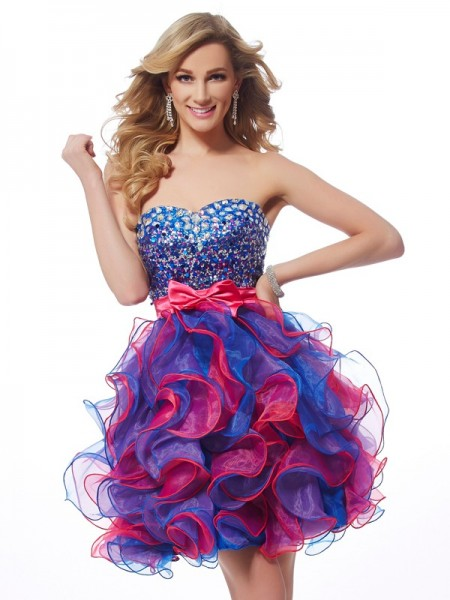 A-Line/Princess Sweetheart Sequin Short Organza Homecoming Dress