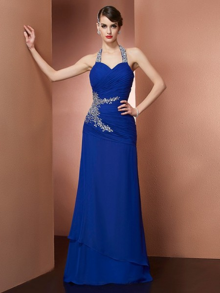 Sheath/Column Halter Beading Dress with Long Chiffon