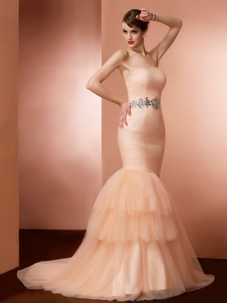 Trumpet/Mermaid Strapless Beading Long Net Dress