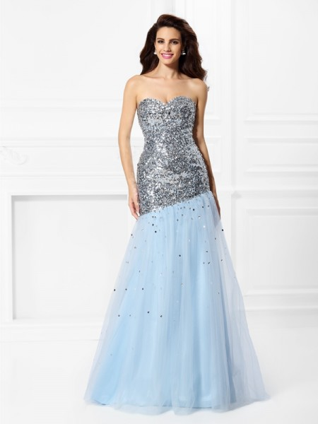 Trumpet/Mermaid Sweetheart Sequin Long Satin Dress