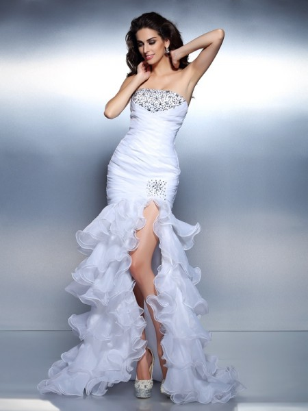 Trumpet/Mermaid Strapless Beading Ruched Long Organza Dress