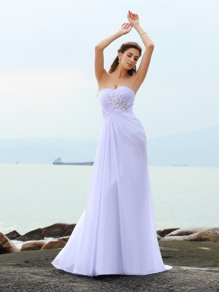Sheath/Column Sweetheart Beading Beach Wedding Dress with Long Chiffon